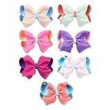 7PCS / Set Girl Cute Double Color Silk Haar-Klipps Bowknot geknotete Spangen Handgefertigte Haarnadeln Haarschmuck Kopfbedeckung