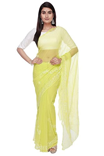 BDS Chikan Hand Embroidered Lucknow Chikankari Parrot Green Georgette Saree With Blouse...