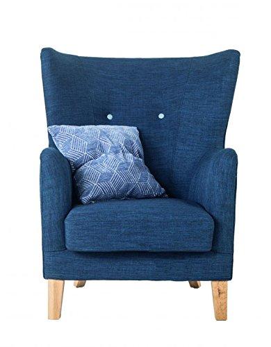 SalesFever® Relaxsessel Houston, in Blau, Armlehne, mit Stoffbezug aus Polyester, Zierknöpfe an Rückenlehne, Pflegeleichte Oberfläche, hoher Sitzkomfort