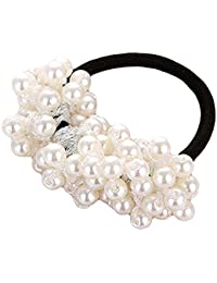 Beaded Pearl Rope Hair Band Rubber Hair Accessories | Imitation Pearls Beads Elastic Fancy Rubber Band Ties Ponytail Holder Scrunchy for Girls & Women