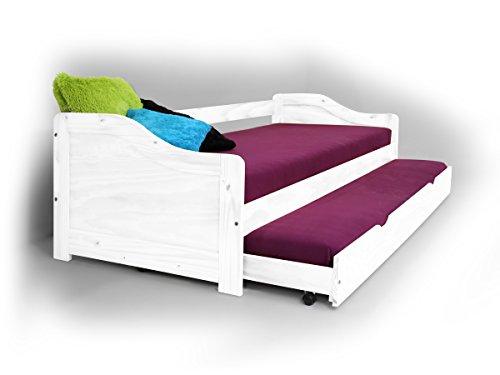 moebel-eins Laura Funktionsbett Bett Tandemliege Jugendbett und Kinderbett mit Bettkasten Pinie weiß inkl. 2 x Lattenrost in 90 x 200 cm
