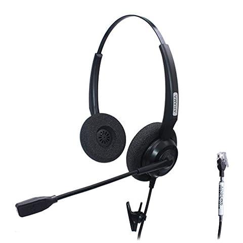Arama Bilatéral Casque Téléphonique filaire W/Bruit Micro pour Aastra Adtran Alcatel Lucent Allworx AltiGen AVAYA Comdial Digium Gigaset InterTel Mitel MiVoice Plantronics Deskphones (A200D1)