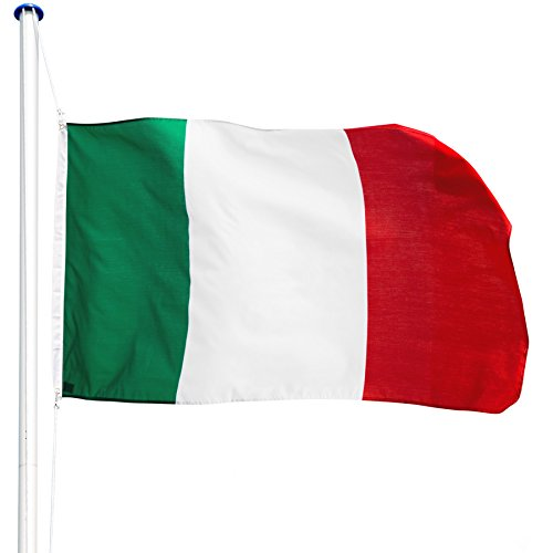 TecTake Asta alluminio 625 cm con bandiera + corda e piantone set - modelli differenti (Italia | no. 402849)