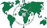 Graz Design - Decorazione da parete con orologio, motivo: mappamondo Orologio argento verde