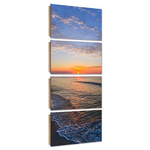 Feeby. Wandbilder - 4 Teile - Gedrucktes Bild, Foto, Kunstdrucke, Deko Panel, 4-Teilig, 30x80 cm, MEER, SONNENUNTERGANG, NATUR, BLAU