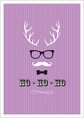 (Erhältlich im 1er 4er 8er Set: Ho, Ho, Ho Moderne Coole lustige Hipster Weihnachkarte Klappgrußkarte Gutschein mit Hirschgeweih, Brille, Fliege und Schnurrbart in Lila mit Umschlag (8))