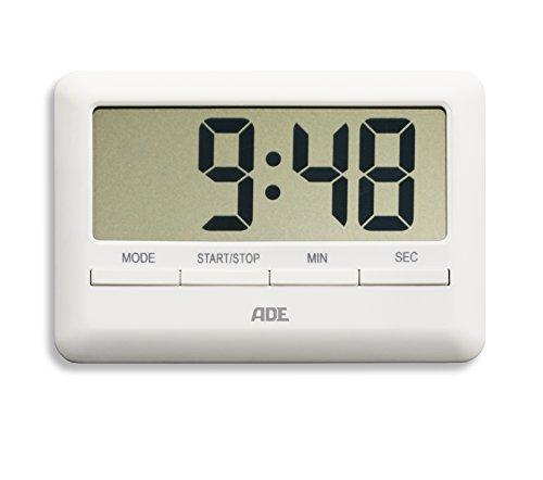 ADE TD 1600 Digitaler Küchentimer - der flachste Timer der Welt. Inklusive Uhrzeit, Wecker, Countdown und Stoppuhr. Praktische Magnet-Aufhängung, großes LCD-Display. Akustisches Signal. Eieruhr Weiß (Ei-timer Digital)
