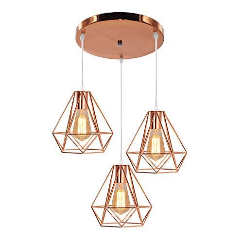 Industrielle Diamant-Stil Hängeleuchte,Metall Deckenleuchte Lampenschirme 3 Köpfe Leuchte Kronleuchter für Bar, Küche, Wohnzimmer und Schlafzimmer,Roségold -