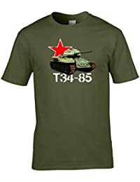 Naughtees clothing - World war 2 Russian T34-85 tank T-shirt. Great for anyone who plays World of Tanks or has an interest in military vehicles.