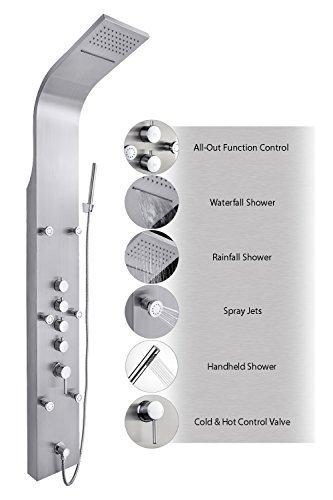 Hand-jet-massage-system (AKDY JX-9821 AZ-9821 65 Stainless Steel Rain Waterfall, Massage Jets & Rain Style Hand Shower System Shower Panel by AKDY)