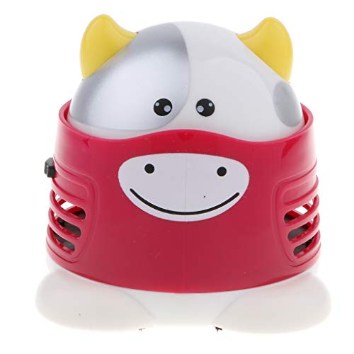 FLAMEER Mini Cartoon Tier Tabelle Tastatur Ecke Schreibtisch Staubsauger Staub Kehrmaschine - Rosa