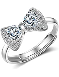 dc jewels Silver Plated Swarovski Korean Vogue Bow Adjustable Ring for Women