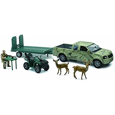 Wild Hunting Playset Camo Pick-up Truck w/ ATV or Jon Boat on Trailer (Assorted) by NewRay