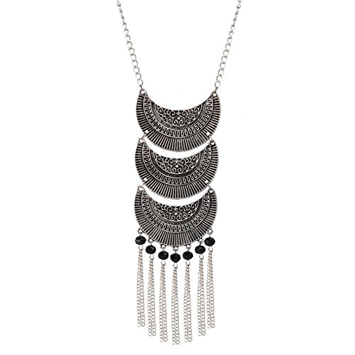 Alfora German Silver Black Beaded Long Pendant Necklace for Women