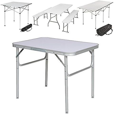 TecTake Mesa plegable de aluminio portátil camping terraza jardín mesa multifuncional - varios modelos - (No. 401066: 75 x 55 x 60 cm)