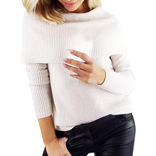 Baumwoll Point-kragen Bluse (GOKOMO Mehrlanger Langarmpullover mit hohem Kragen(Weiß,Small))