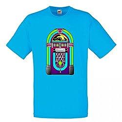 T-Shirt Jukebox- Musik- Musik Player- Multimedia- Medien- Stein- Jahrgang- Retro- AUSRÜSTUNG- Unterhaltung in Blau für Herren- Damen- Kinder- 104-5XL