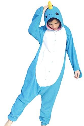 Kostüm Narwal - FORLADY Pyjamas für tierische Onesie Sloth Adult Pyjamas Unisex-Fleece-Rollenspiel-Kostüm (S, Narwal-Blau)