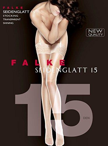 FALKE Damen Strapsstrümpfe Seidenglatt, 15 Den, Schwarz (Black 3009) 9,5-10