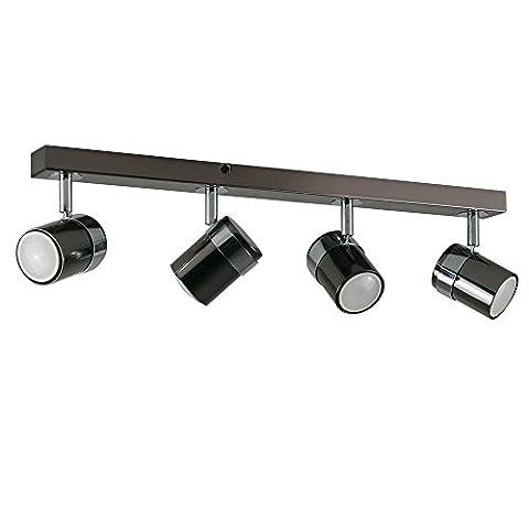 MiniSun – Modernes Schienensystem in schwarzem chrom mit 4 verstellbaren Strahlern im Industriellstile –