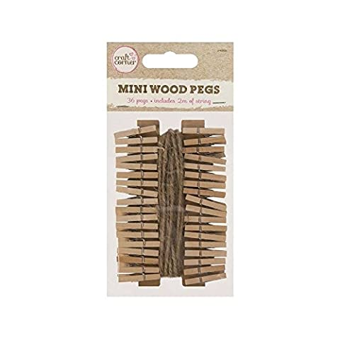 36 x Mini Wood Pegs + 2m of Jute String Craft Wedding Hanging Photo Clips Wooden. (1 Pack of 36