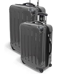 FINEO® 2-tlg. Hartschalen-Kofferset Ultra-Light Gr. L/M - 68/58cm 4 Rollen 360° aus Polycarbonat/ABS Trolley Koffer Reisekoffer +25% DEHNFALTE