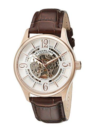 stuhrling-original-delphi-reloj-automatico-para-hombre-con-correa-de-cuero-color-marron