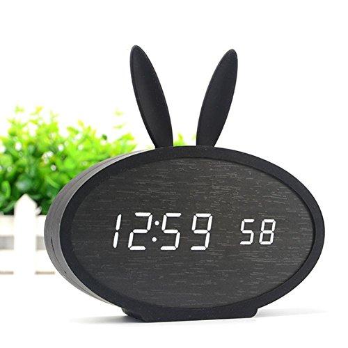 DXNSPF Orologio Legno Led Allarme Controllo Sonoro Calendario Mute Temperatura Coniglio Obbediente Silicone Elettronico Creativo. , Black wood lamp + black