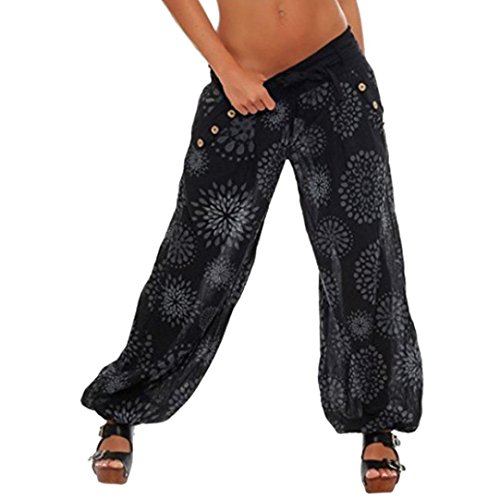 Yoga Hosen Damen Sonnena Frauen Mode Lose Fit Drucken Haremshose Pants Freizeit Elastische Taillen Übergröße Hosen Beiläufige Breite Leggings Freizeithose Sporthosen Bleistifthose