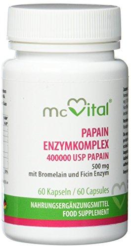 Papain Enzymkomplex - 400000 USP-E / g Papain 500 mg - mit Bromelain und Ficin Enzym - 60 Kapseln -