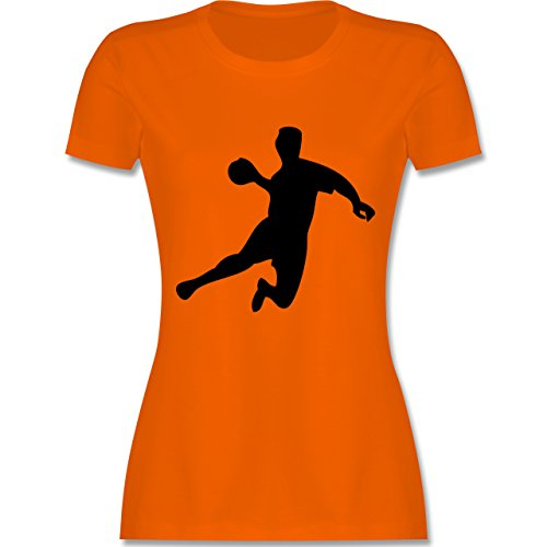 Handball - Handball - tailliertes Premium T-Shirt mit Rundhalsausschnitt für Damen Orange