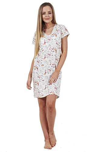 BHS Ladies Printed Cotton Nightdress Womens Short Sleeve Cami Nightie