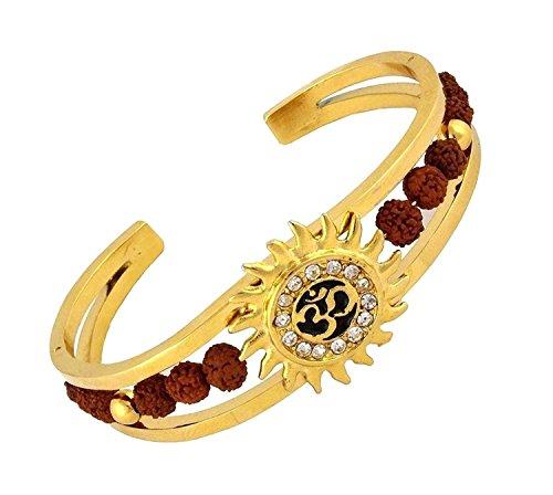 Spangel Fashion Rudraksh American Diamond Gold Meena Om Sun Cuff Kada Bracelet for Men