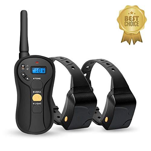OKAWA DACH Hundehalsband für 2 Hunde, wasserfest, wiederaufladbar, E-Halsband, 60 m, mit Fernbedienung gesteuert, elektrisches Halsband mit 3 Trainingsmodi, Ton, Vibration und Lichtbefehlen -