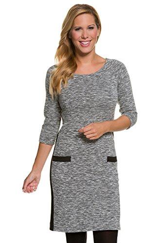 GINA LAURA Damen bis Größe 3XL | Jersey-Kleid | Feinstrick-Kleid | Rundhals, 3/4-Arm, Taschen & Seitennaht | mittelgrau S 708503 12-S
