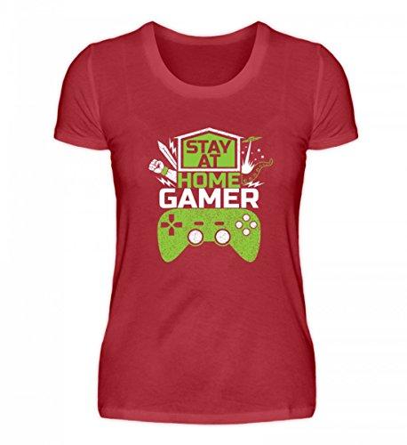 Shirtee Hochwertiges Damen Organic Shirt - Stay At Home Gamer - Gaming Videospiele Zocker Zocken Online Multiplayer Videogames Dunkelrot