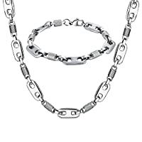 AMDXD Jewelry Stainless Steel Bracelet Necklace Sets for Men Marina and Cylinder Silver 61X1CM