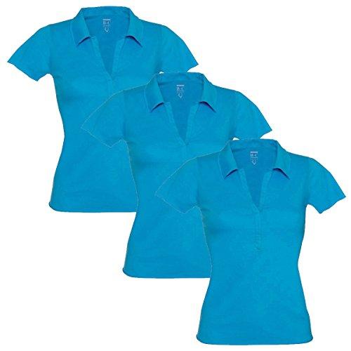 B&C Damen Poloshirt, Einfarbig Gr. 44, 3 Pack (Blue) (Raw Tee V-neck Edge)