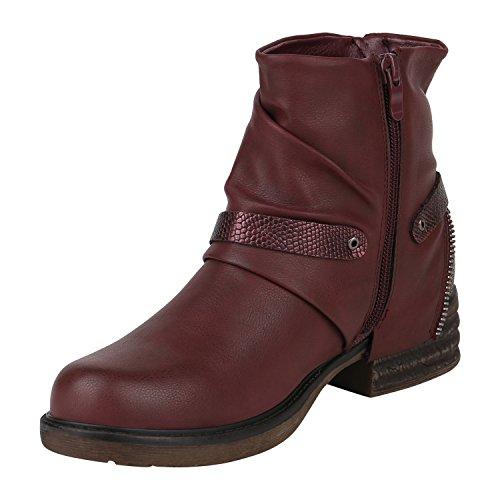 Stiefelparadies Damen Biker Boots Leder-Optik Stiefeletten Warm Gefütterte Booties Blockabsatz Winter Schuhe Winterboots Zipper Snake Print Flandell Dunkelrot Bexhill
