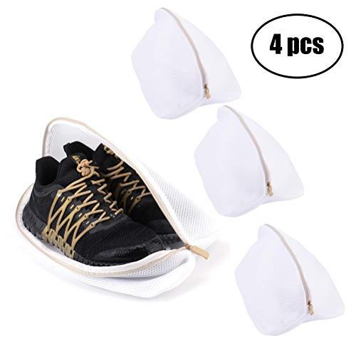 Besnail 4 Stück Premium Wäschenetz für Schuhe/Sneaker, Wäschesack Netz für Waschmaschine,Wäschenetz Wäschebeutel für die Reise,Weiß