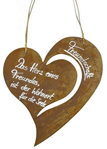 Metallmichl Edelrost Schild Herz Freundschaft