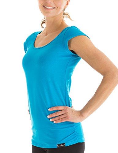 Winshape Damen Kurzarmshirt Fitness Freizeit Yoga Pilates, Türkis, XL, WTR4
