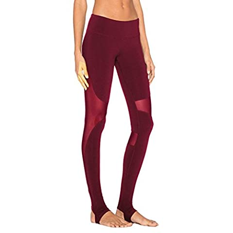 Wgwioo Women Yoga Pants Run Elasticity Leggings Patchwork Mesh Stretchy Athletic Workout High Waist Fitness Loisirs Rapide En Plein Air En Plein Air Gym Sports Throw Red S