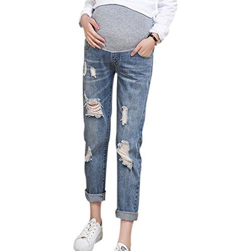 Hzjundasi Blu Maternità Elastico sciolto Jeans strappati con nappa Incinta Over The Bump Pants