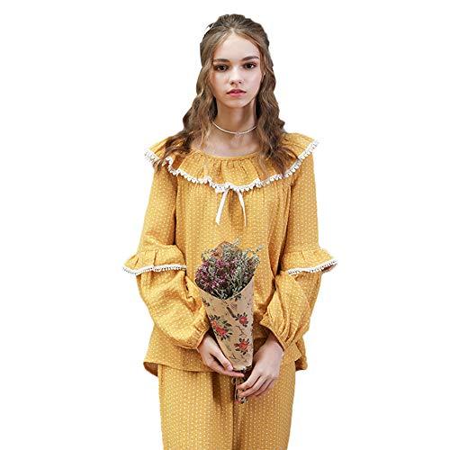Cyni Pyjamas Herbst und Winter Damen Baumwolle/Dot Süße Welle Punkt Jacquard Doppel-Falten-Tuch Mode Home Service,Gelb,L -