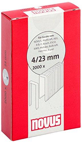 Novus 042-0595 Carton de 2000 Agrafes dos étroit 4/23 mm Rouge