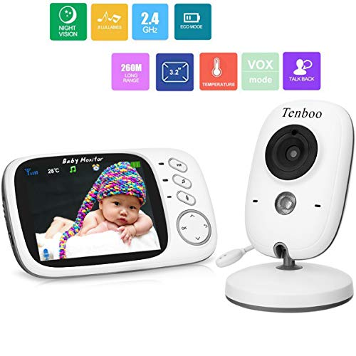 Baby Monitor with Camera Video Baby Monitor Wireless Tenboo 3.2' LCD Digital Screen for Signal Transmission Two-way Talk Support Night Vision Voice Activation Temperature Monitoring Lullabies