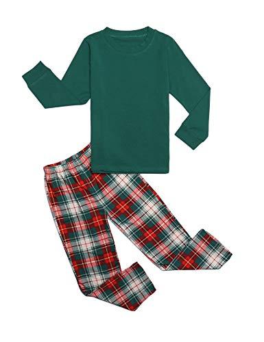 trudge Schlafanzug Jungen Mädchen Unisex Pyjama Set Kinder Langarm Einfarbig Baumwolle Top + Kariert Hose, Grün, 150/10-11 Jahre