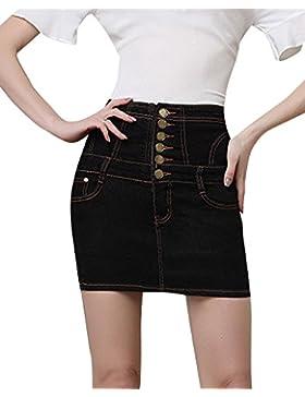 Mujeres Falda De Mezclilla Corta Cintura Alta Tamaño Grande Slim Falda De Mezclilla