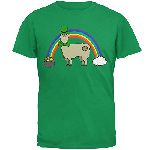 Patricks Day Irish T-shirts (Old Glory St. Patrick's Day Llama Cute Pot of Gold Mens T Shirt Irish Green LG)